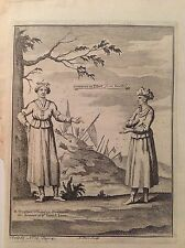 CORTIGIANE IN TIBET from Grueber donne in costume acquaforte 1746 Thomas Astley