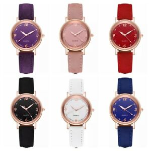 Ladies Watches Casual Quartz Analogue Womens Wrist Watch Leather Fashion Gift Uk