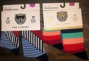 2 Twinsies Sock Set NEW Pair of Thieves Dad & Kid Men Sz 8-12 & Kid L 9yr -12yr