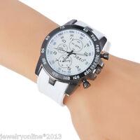 Herren Uhr Armbanduhr Quarzuhr Sport Analog Silikon Armband Weiß Watch 24cm
