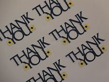 "12 Navy Blue  ""Thank You"" phrase die cuts 1 1/2"" x 3 1/4"""