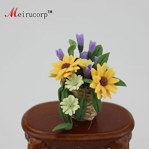 Dollhouse 1:12 Scale Miniature Elegant Flower arranging Basket 10209