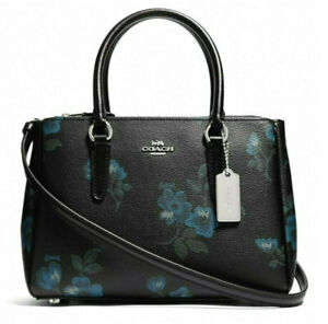 COACH WOMENS MINI SURREY CARRYALL WITH VICTORIAN FLORAL PRINT BLACK MULTI