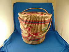 "Colorful basket deer cover lid 2 handles 14"" x 16"" laundry hamper storage art"