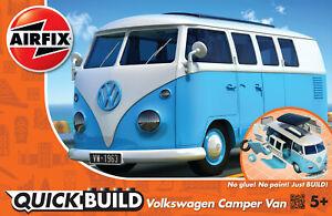 Airfix J6024 VW Camper Bleu Modèle Auto Kit de Montage, Quick Build - Rupture