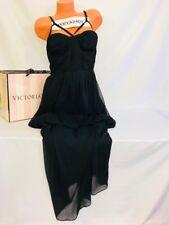 Victoria's Secret Black Soft Smoked Strappy Zip Maxi Lounge Beach Dress Sz 14