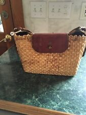 Etienne Aigner Vintage Handbag Hand Made Leather Jute Straw Purse