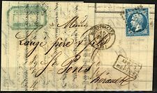 France 1870 cover 20c Napoleon tied 2120 Montpellier boxed Apres Le Depart with