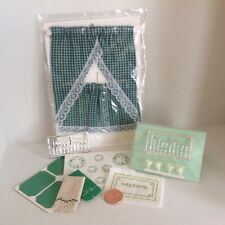 1:12 Scale, Green dollhouse curtain. Flatware, paper plates, mats & welcome mat
