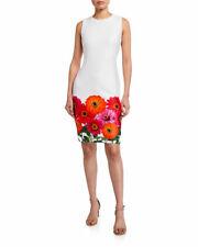 Calvin Klein NEW NWT Exquisite WHITE Floral hem soft Scuba Dress  size 12