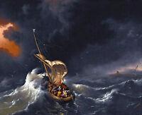 Jesus Christ on Sea of Galilee Bible Christian Fine Art Real Canvas Print New