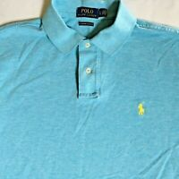 Polo Ralph Lauren Mens Custom Slim Fit Blue Red Pony S/S Polo Shirt Size Large L