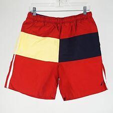 Vintage Nautica Color Block Swim Trunks Bathing Suit Mens M Red Blue Yellow