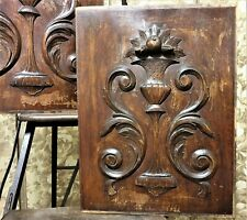 Pair weathered scroll leaves panel Antique french wooden architectural salvage