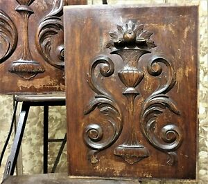Pair weathered scroll leaves carving panel Antique french architectural salvage