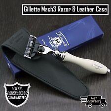 Para Hombre de afeitar gillette mach 3 Razor & Estuche De Cuero Genuino | perfecto para viajes