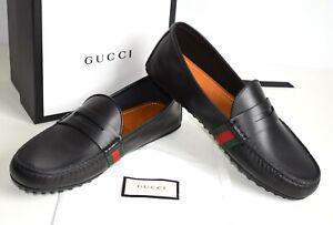 GUCCI Luxus Mens Shoes Moccasins Leather black EU 44,5; UK 10,5; US 11