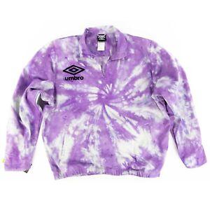Umbro Men's Long Sleeve Drill Sweatshirt Sz. Large Gray $80 Custom Dye Purple