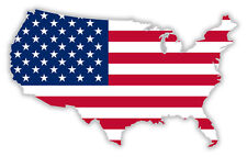 """USA United States of America American map flag sticker decal 5"""" x 3"""""""