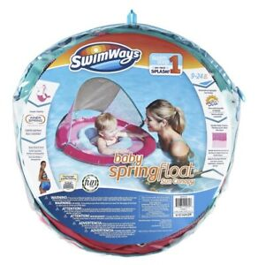 SwimWays Baby Spring Float with Sun Canopy Pink Swimways Step 1 For 9-24 Months
