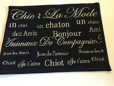 Park B. Smith Pet Dog Cat Food Bowl Mat Rug FRENCH WORDS un chaton chiot 13x19