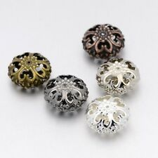 20pcs Iron Filigree Hollow Beads Flat Round Mixed Color 23x12.5mm Hole 2mm Craft