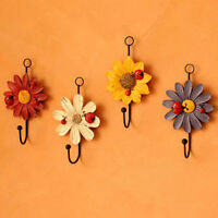 Garderobenhaken Gußeisen Bunt Blume Wandhaken Kleiderhaken antik Vintage
