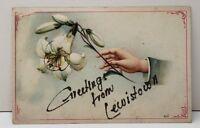 Greetings From Lewistown Pennsylvania Embossed Tinseled Postcard C14