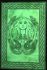 Lady Face Wall Hanging Wonderful Design Cotton Tapestry Poster Hippie Green Art