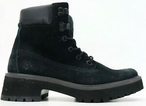 "New Timberland Carnaby Cool 6"" Black Suede Boots Womens US 7 EU 38"