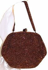 Bronze Glass Seed Bead Purse Handbag by Walborg Satin Lining Mid Century