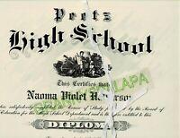 1919 Peetz Colorado Public School Diploma In Folder-Naoma Violet HALVERSON