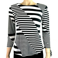 EX.DEBENHAMS BLACK  WHITE STRIPE BLOUSE TOP Size 8