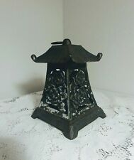 Vintage Heavy Cast Iron Japanese Hanging Patio Candle Holder Garden Lantern