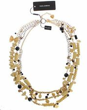 NWT $2200 DOLCE & GABBANA Sicily Pasta Gold Silver Crystal Statement Necklace