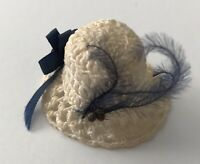 Vintage Tiny Doll Hat Lace Bonnet Thimble Hat Cap Small Navy Ribbon Plume Bow