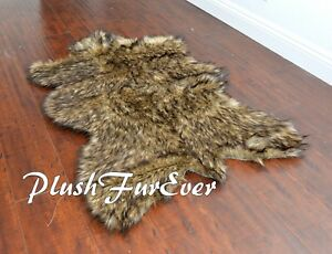 """PlushFurEver Faux Fur Rugs Black Tip Wolf Exotic 58"""" x 72"""" Large Area Rug Thick"""