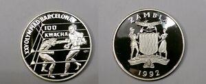 .841 OUNCE SILVER 1992 ZAMBIA 100 KWACHA GEM OLUMPIC PROOF #500-62