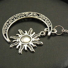 Gift Women Accessories Alloy Filigree Pendant Moon And Sun Necklace Jewelry
