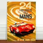 "Vintage Auto Racing Poster Art ~ CANVAS PRINT 8x12"" 24 Hours Du Mans"