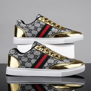 Men Casual Shoes Designer Leather Shoes Skate Sneakers Luxury Embroidery Design