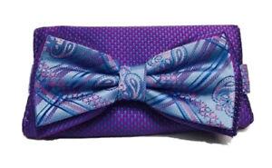 Stacy Adams Men's Bow Tie & Hanky Set Powder Blue Fuschia Pink Blue Multi Design