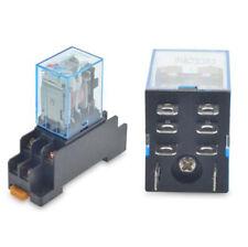12V DC Coil Power Relay LY2NJ DPDT 8 Pin HH62P JQX-13F W/ Socket Base Sa