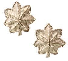 New Gold Finish O-4 Major (Oak Leaf) Uniform Insignia Pin Set - Usa Made!