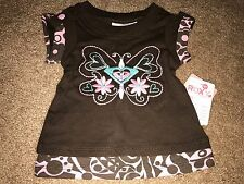 "NWT ROXY TEENIE WAHINE ""GDAY MATE"" SHIRT/TOP 6/9 MONTHS BROWN"