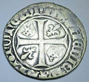 France 1300s-1400s Charles VI Silver 1 Blanc Guenar Medieval Treasure Cross Coin