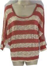 American Rag Junior Women Large Sheer Lace Stretch Knit Boho Sweater Top Beige