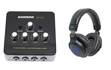 SAMSON QH4 4-Ch Stereo Studio Monitoring Headphone Amplifier Amp+DJ Headphones
