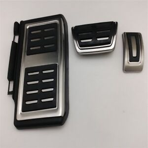 3pcs Gas Brake Footrest Foot Pedal Cover Trim AT For VW Volkswagen Tiguan 2017