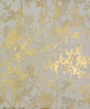 York Wallcoverings Nw3582 Modern Metals Shimmering Foliage Wallpaper Almond/Gold
